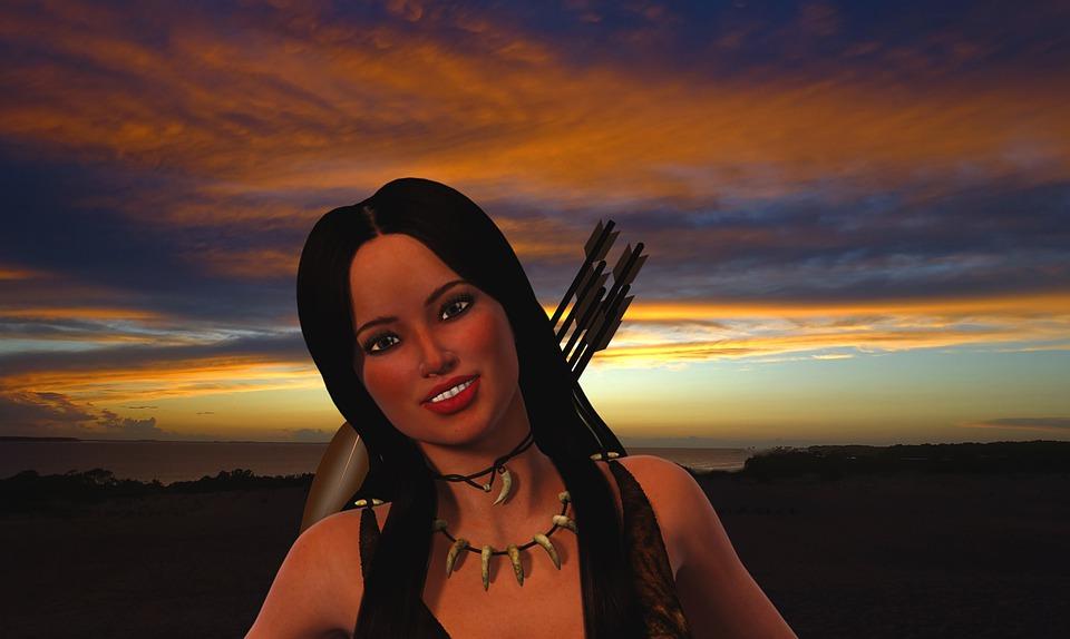 Native American, Female, Sunset, Native, Woman, Warrior