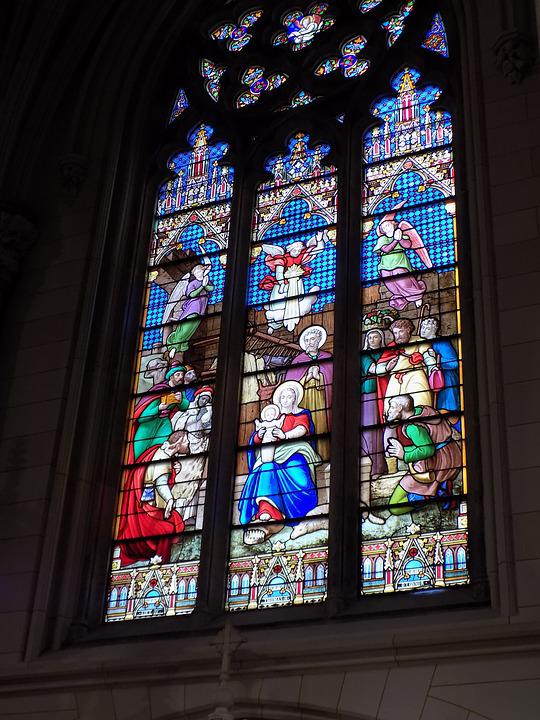 St Patrick's Cathedral, Stained Glass, Nativity, Jesus