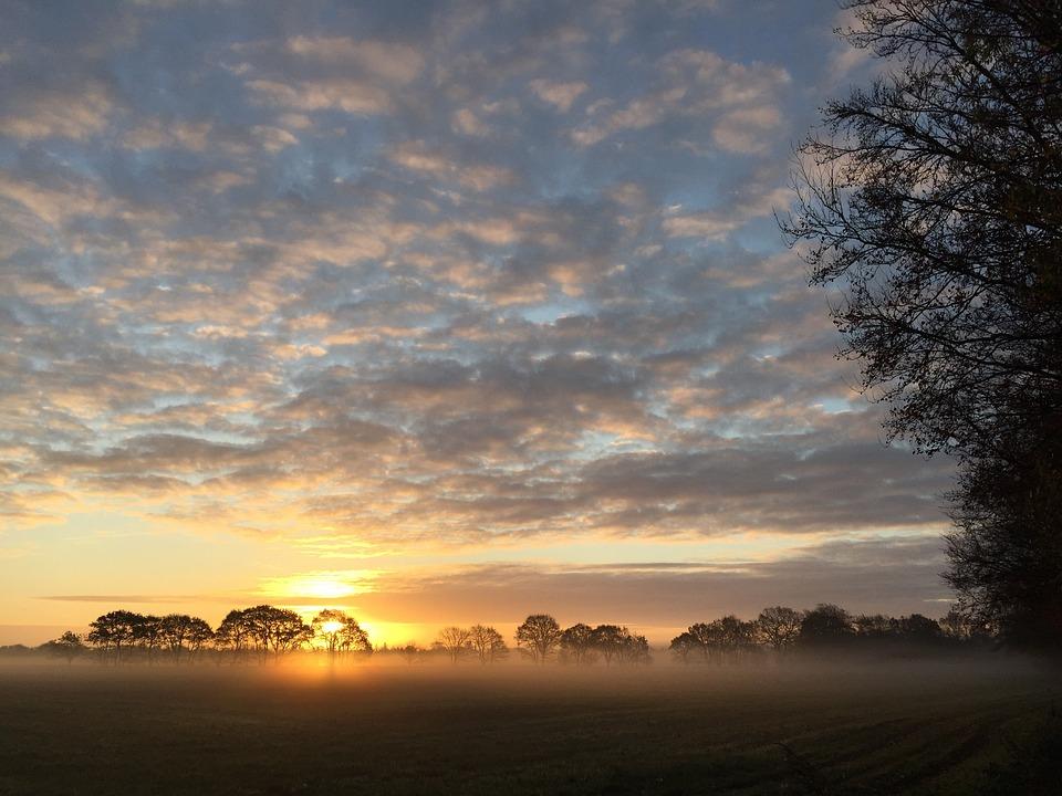 Sunrise, Denmark, Landscape, Natural