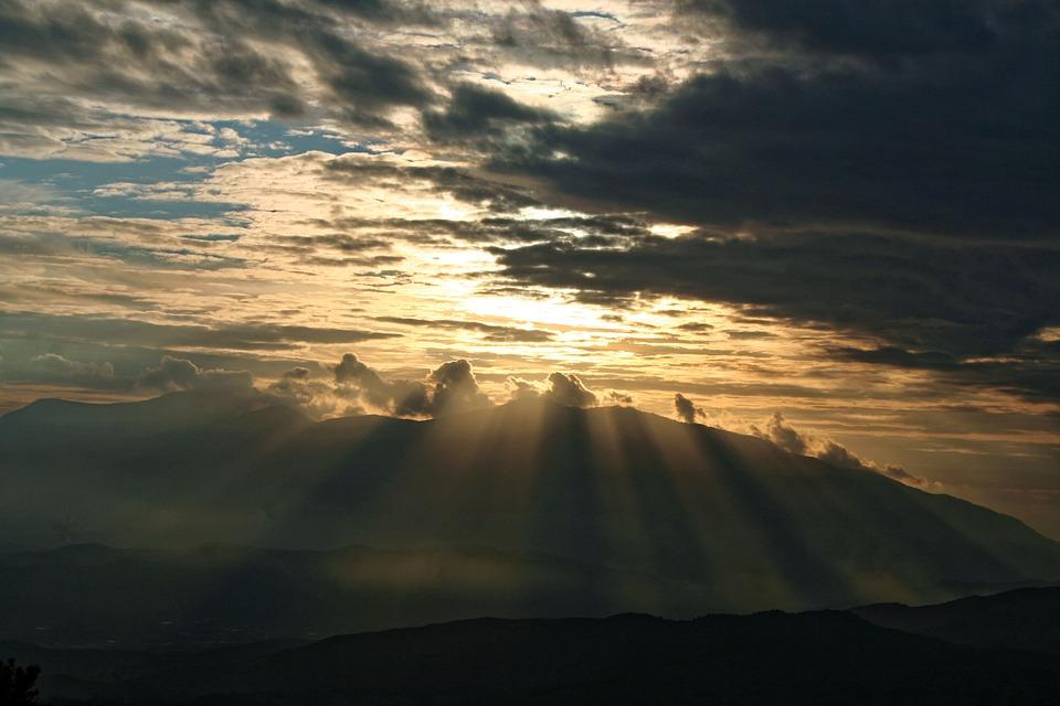 Sun Rays, Sunset, Nature, Light, Sun, Natural, Ray
