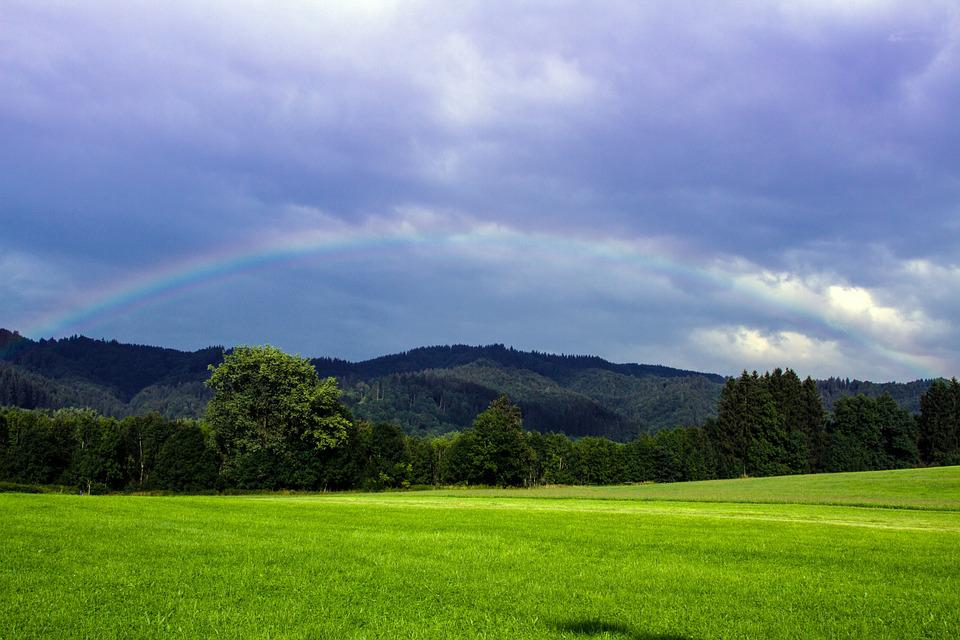 Meadow, Clouds, Rainbow, Natural Spectacle, Mood, Sky