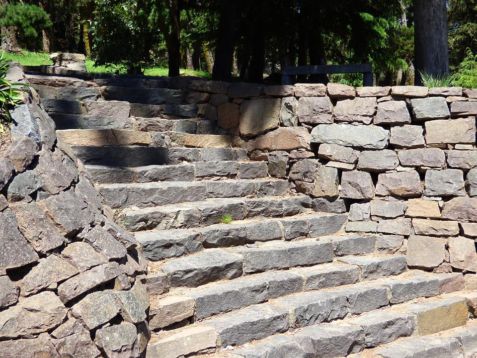 Stone Steps, Natural Stone, Ascent, Stairway