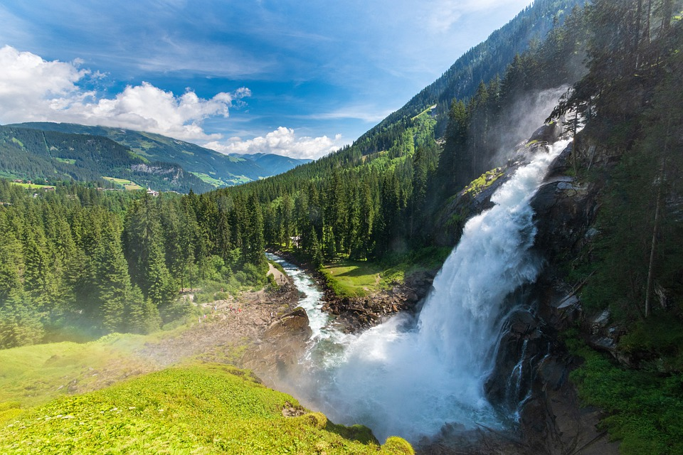 Nature, Waterfall, Alps, Forest