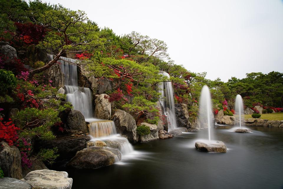 Azalea, Waterfall, Garden, Pond, Water, Nature, Stone
