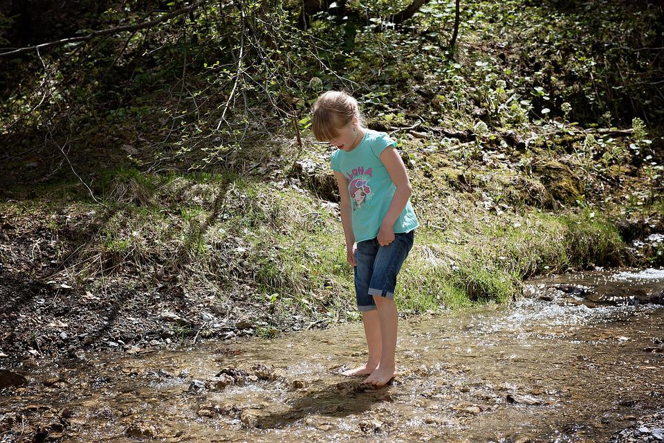 Human, Child, Girl, Barefoot, Bach, Water, Nature