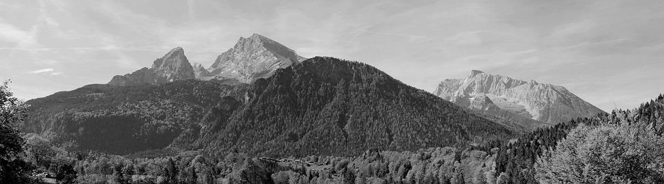 Watzmann, Black White, Mountains, Nature, Background