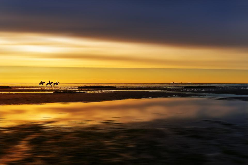 Nature, Landscape, Bank, Ride, Reiter, Beach, Sea