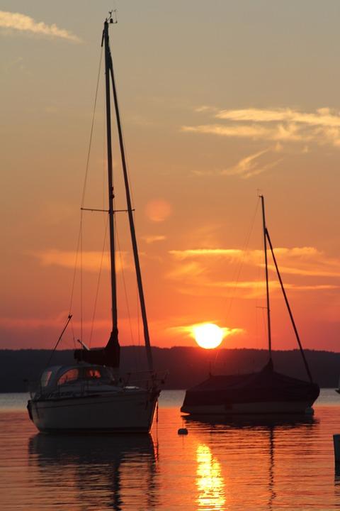 Sunset, Ammersee, Lake, Mood, Bavaria, Nature, Water