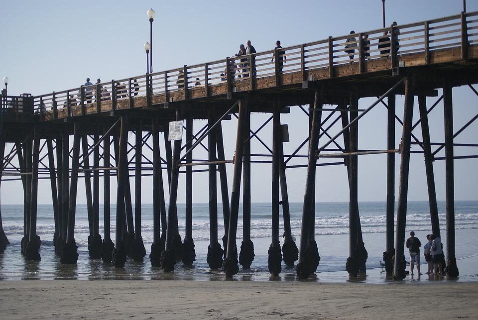 Pier, Beach, Ocean, Water, Nature, Blue, Scenic