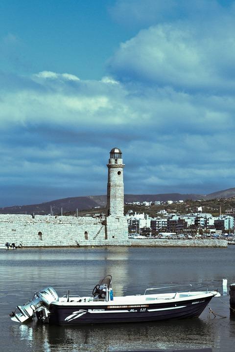 Lighthouse, Water, Boat, Sea, Sky, Nature, Landscape
