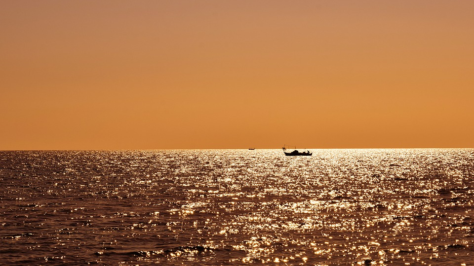 Evening, Sea, Boats, Sunset, Nature, Fishing Time
