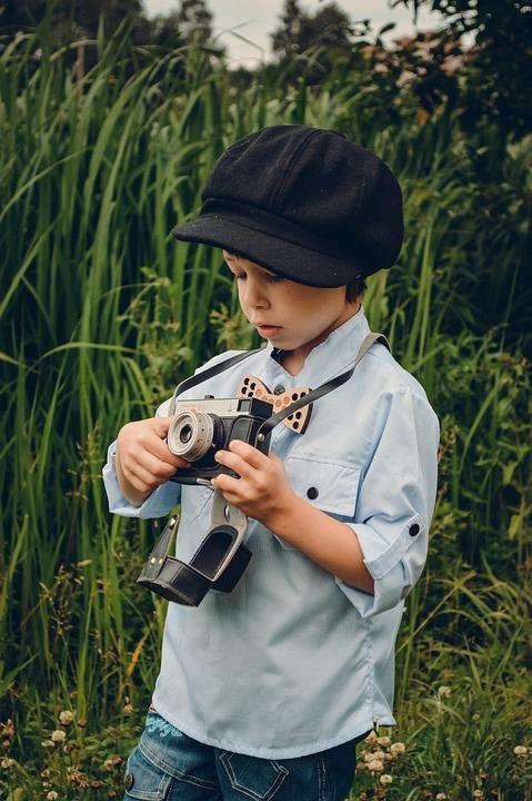 Boy, Kids, Photographer, Retro, Cap, Baby, Cute, Nature
