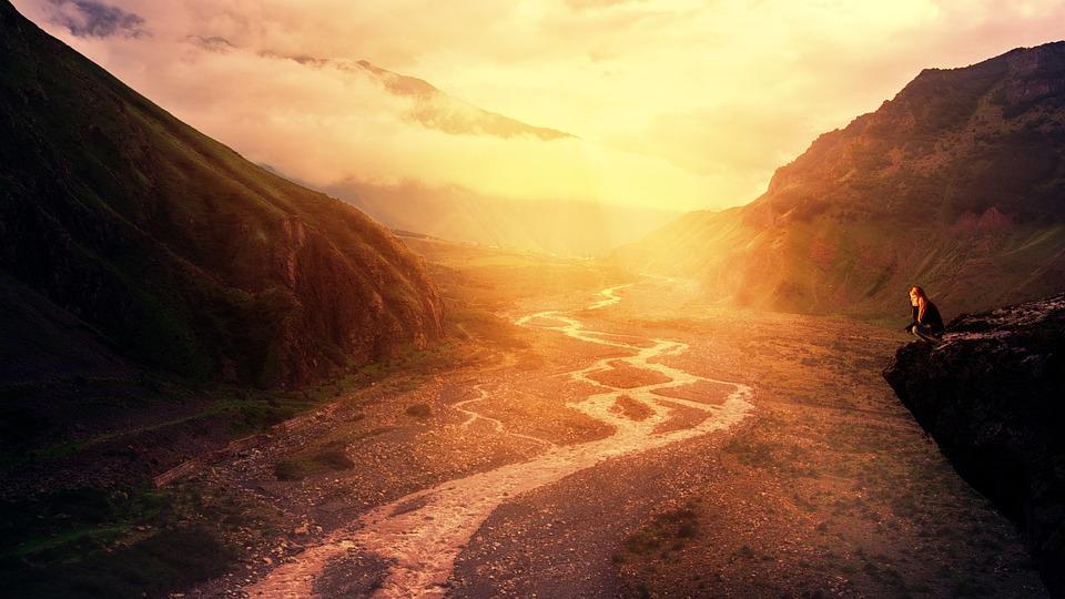 Sunset, Panorama, Nature, Travel, Dawn, River, Caucasus