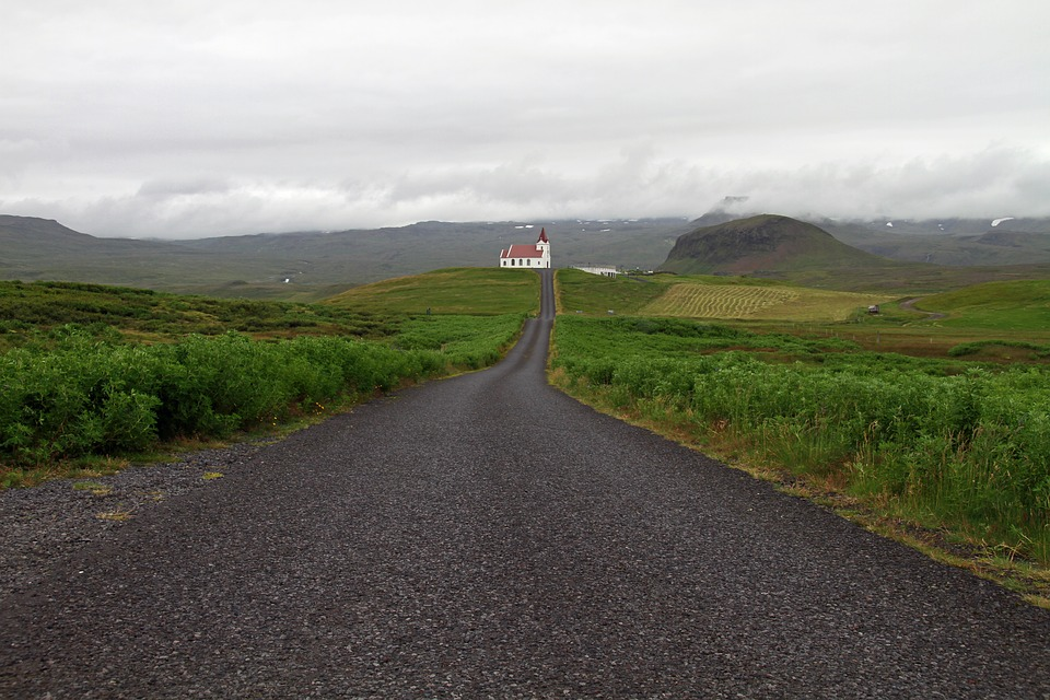 Iceland, Church, Nature, Landscape, Countryside