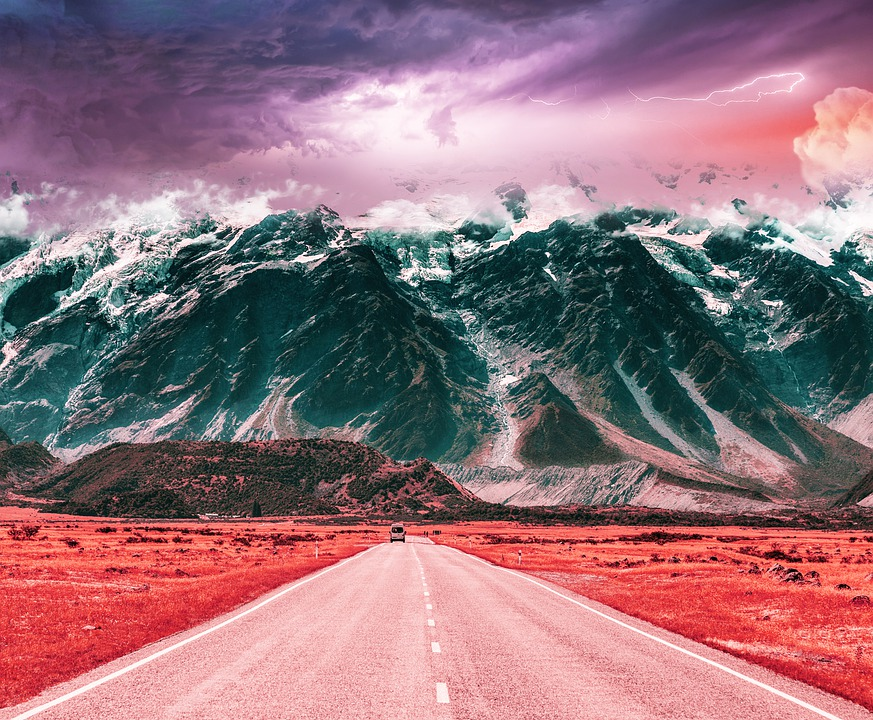 Nature, Mountains, Road, Red Road, Cloads, Sky