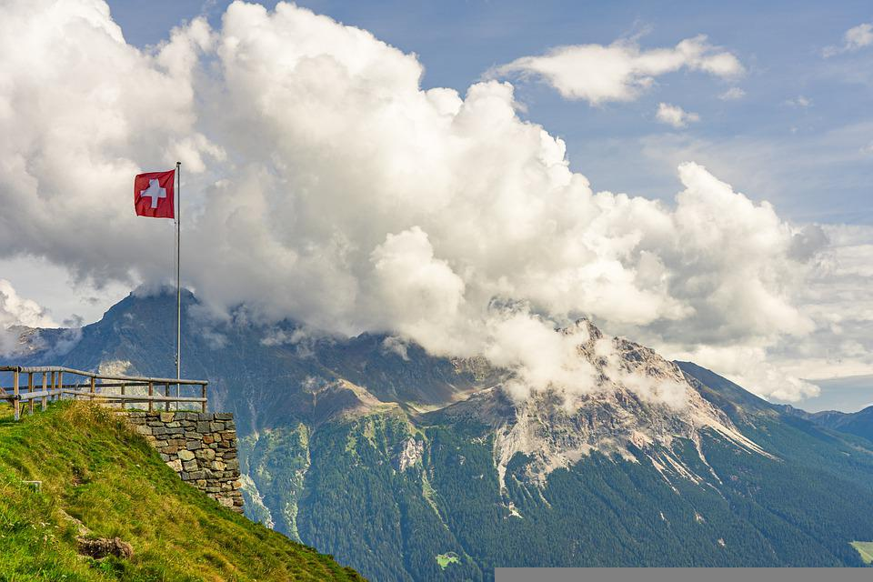 Mountains, Swiss Flag, Clouds, Alpine, Sky, Nature