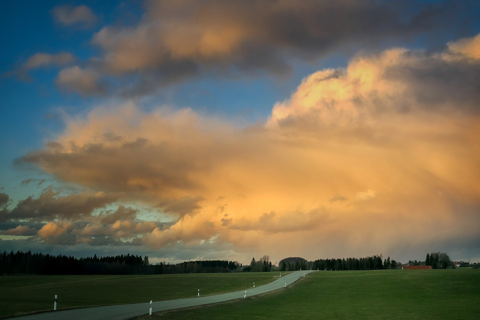 Clouds, Road, Abendstimmung, Sky, Nature, Scenic