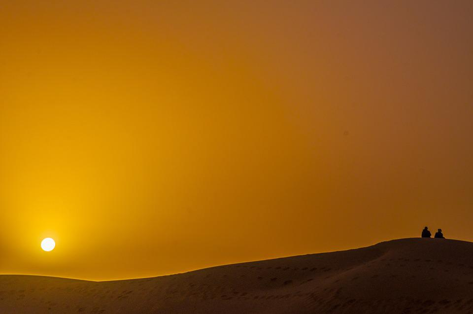 Desert, Couple, Sunrise, People, Man, Nature, Landscape