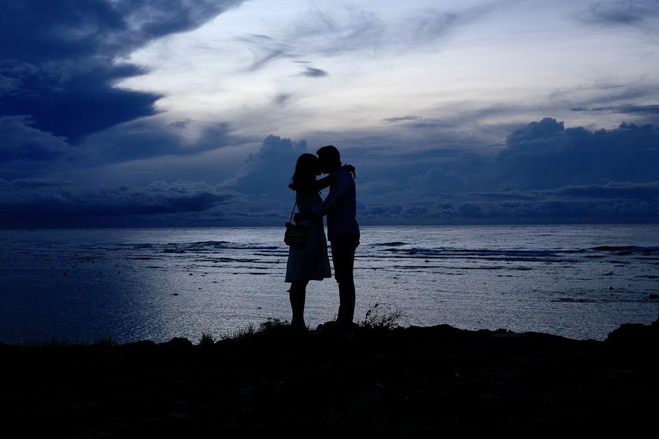 Couple, Sunset, Blue, Blue Hour, Beach, Sky, Nature