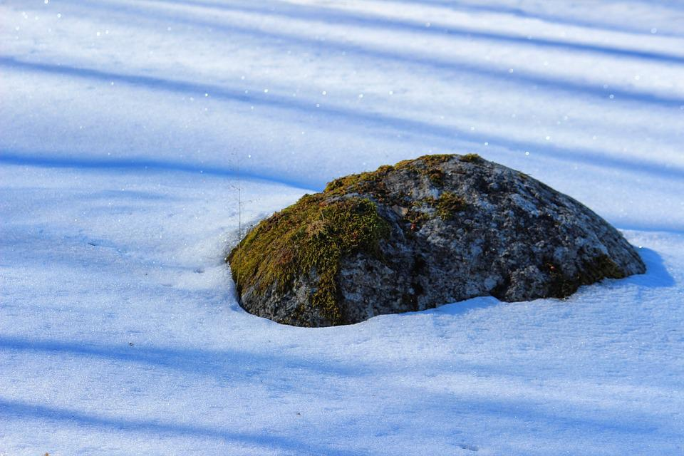 Stone, Snow-covered, Snow, Ice, Finland, Nature, Winter