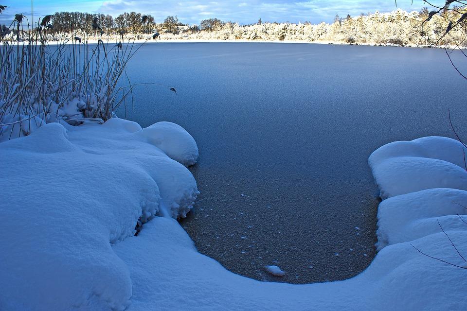 Lake, Frozen, Ice, Winter, Snow, Landscape, Nature