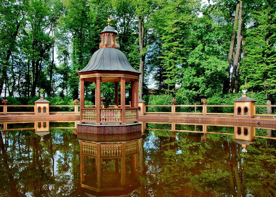 Pond, Gazebo, Landscape, Green, Nature, Living Nature