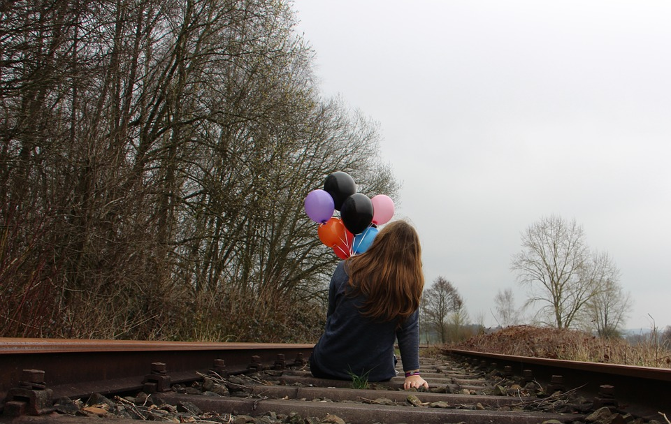 Girl, Railway Rails, Balloons, Nature