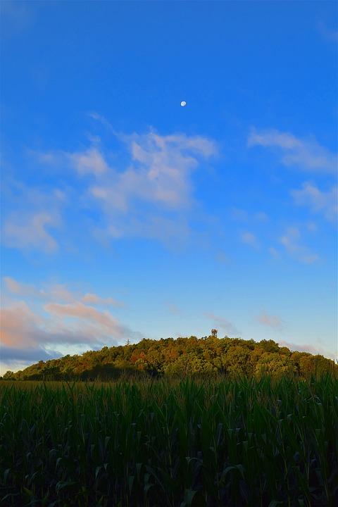 Mountain, Sunrise, Green, Grass, Clouds, Moon, Nature
