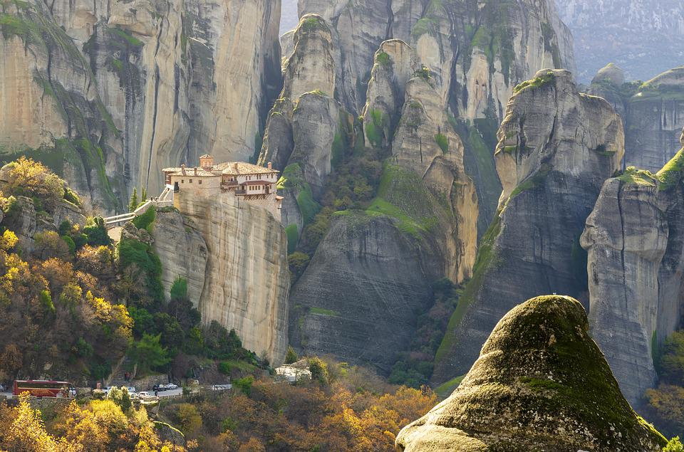 Meteora, Greece, Monastery, Landscape, Nature, Mountain