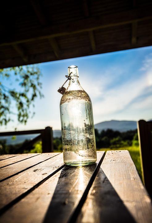 Bottle, Garden, Sky, Sunny, Green, Glass, Nature