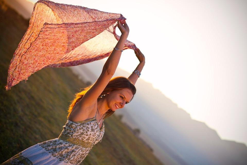 Happy, Girl, Model, Posing, Scarf, Dress, Nature