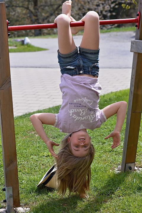 Child, Girl, Gymnastics, Head On, Out, Nature, Movement