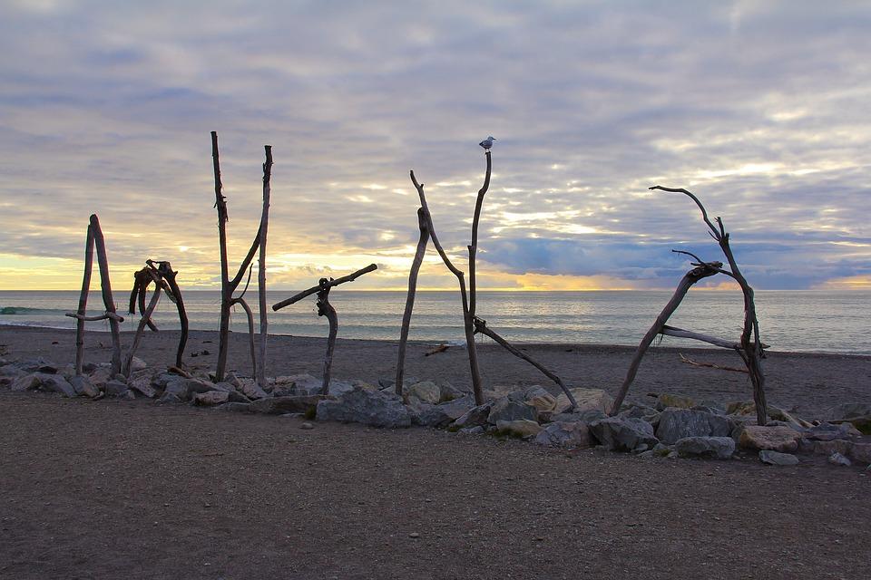Nature Autumn Beautiful Beach Sunset Hokitika