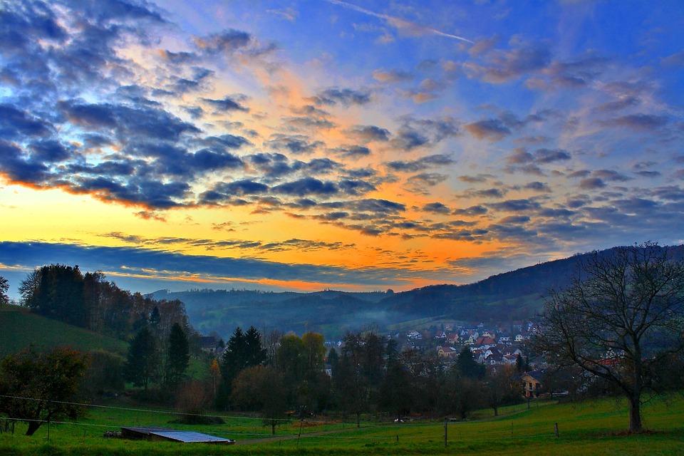 Forests, Landscape, Nature, Fog, Sky, Clouds, Houses