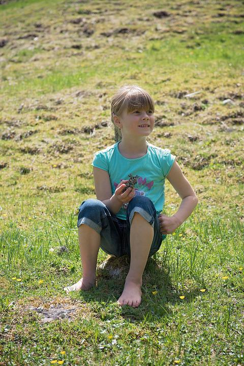 Human, Child, Girl, Rest, Sitting, Meadow, Nature