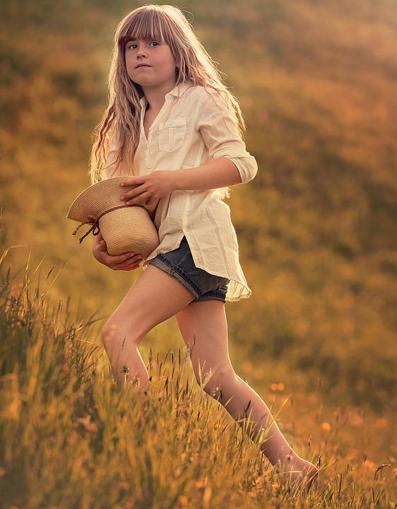Person, Human, Child, Girl, Blond, Hat, Meadow, Nature
