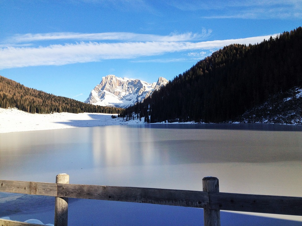Mountain Lake, Winter, Snow, Ice, Nature, Trentino
