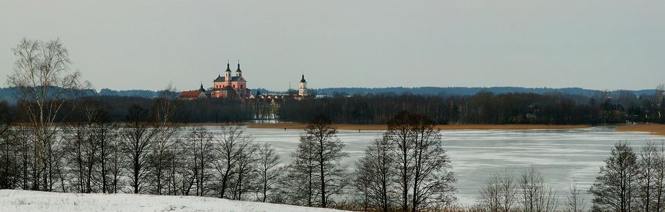 Panoramic, Nature, Winter, Lake, Ice, Winter, Ice