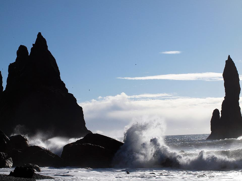 Iceland, Sea, Wave, Sky, Rock, Blue, Landscape, Nature