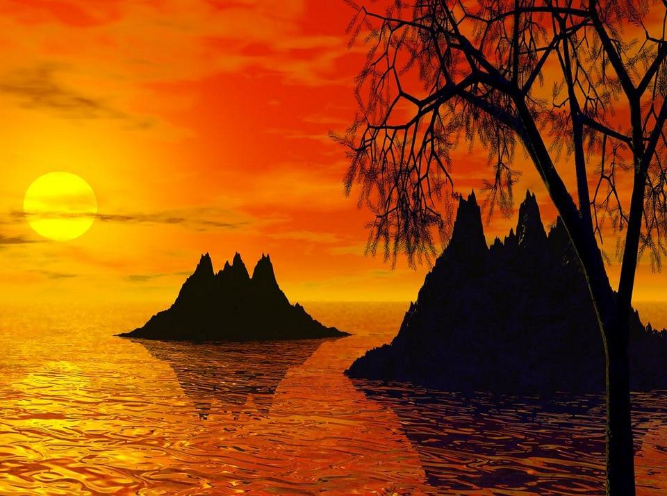 Sunset, Sunset Islands, Island, Landscape, Nature, Sky