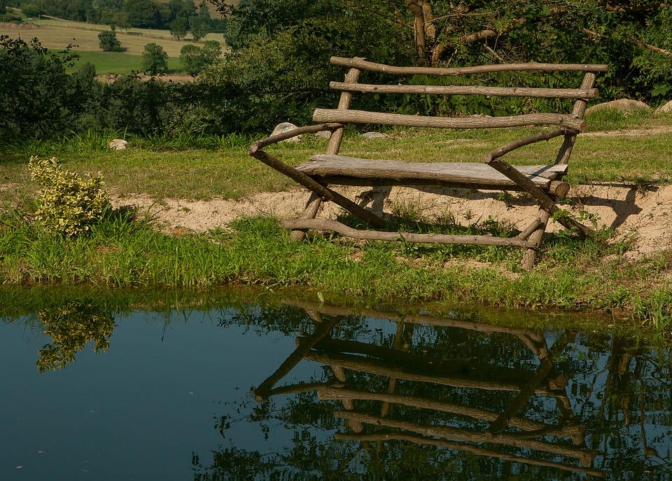 Lake, Bench, Reflections, Nature