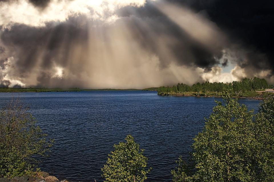 Lake, Nature, Storm Clouds, Sunlight, Sun Rays