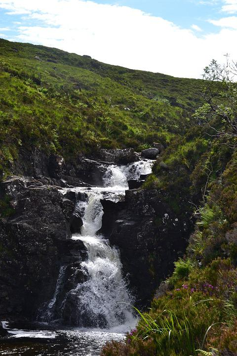 Waterfall, Water, Nature, Scotland, Landscape, Murmur