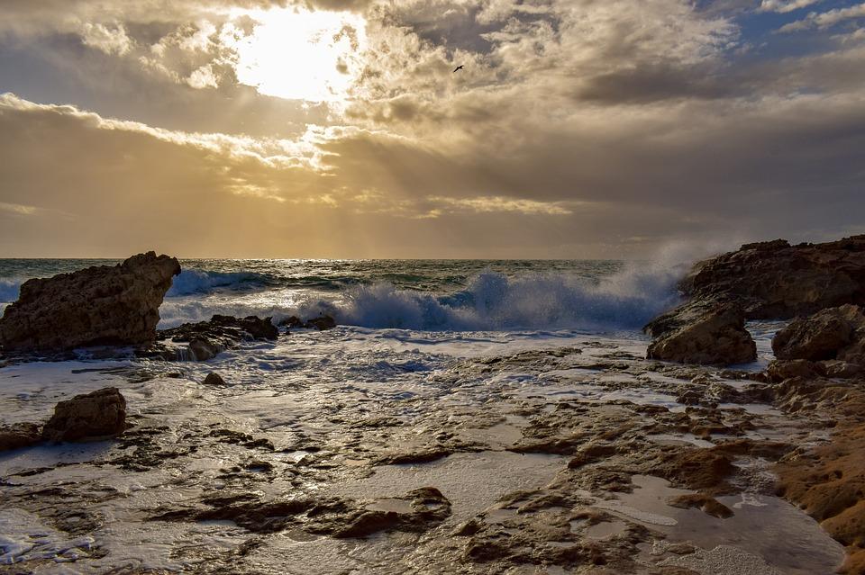 Rocky Coast, Wave, Smashing, Sea, Nature, Landscape