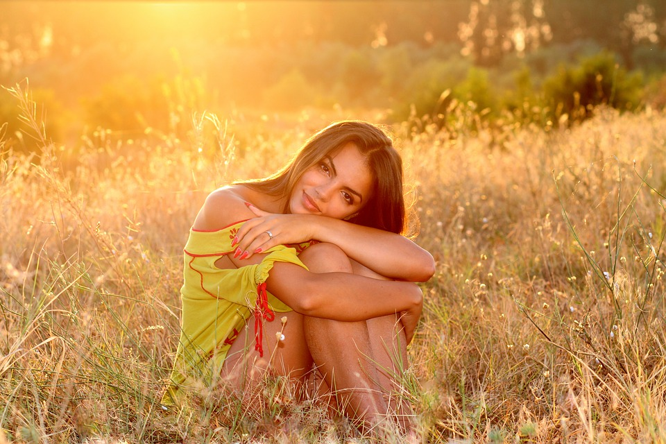 Girl, Grass, Sunset, Light, Nature, In The Evening, Bfe