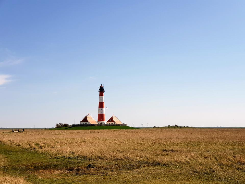 Sky, Landscape, Lighthouse, Nature, Grass, Westerhever