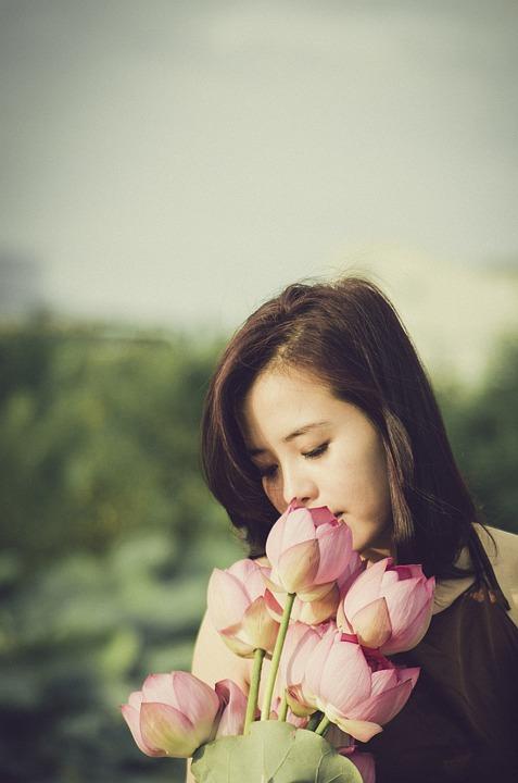 Flower Bouquet, Girl, Lotus, Posing, Lifestyle, Nature