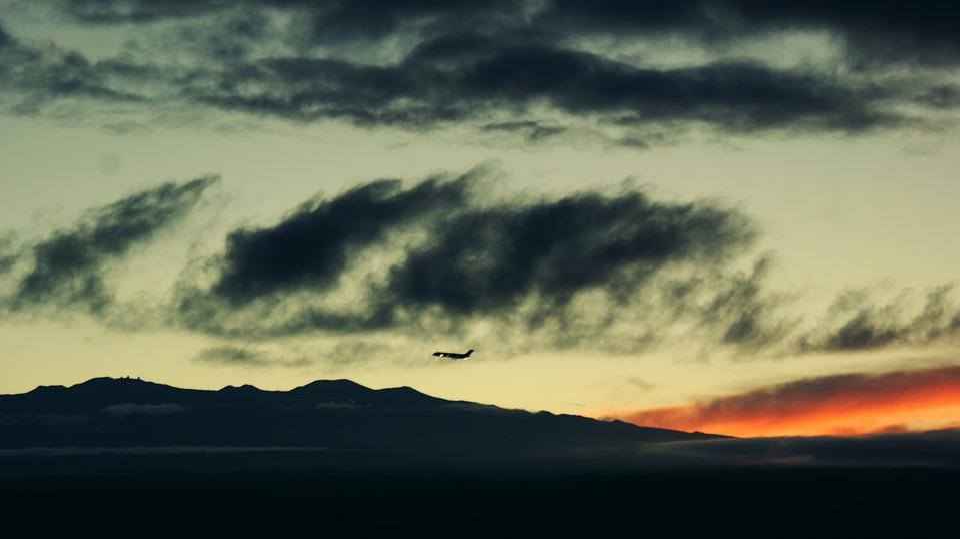 Airplane, Sunset, Sky, Nature, Mountains, Mauna Kea
