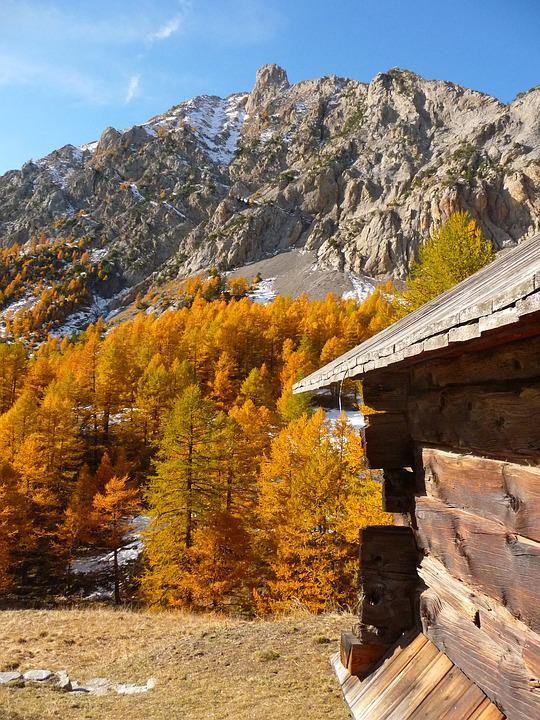 Mountain, Queyras, Chalet, Fall, Alps, Nature
