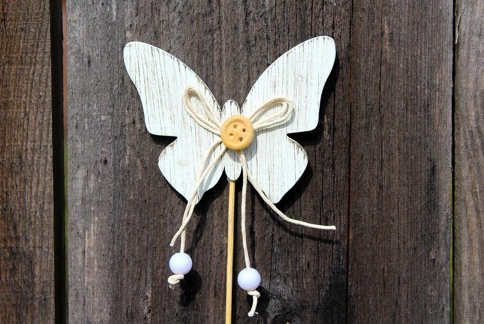 Butterfly, Wooden, Spring, Decoration, Nature, No One